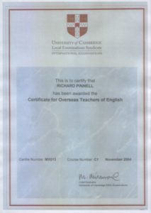 Cambridge Univercity English language Teaching Certificate